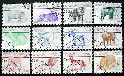 1999: Benin: Mammals,  Wild Animals: Set Of 12 Stamps From Pre-Cancelled Sheets
