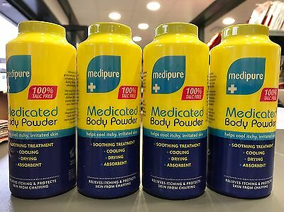 Medipure Medicated Body Powder 100% Talc free - 4 x 200g - Soothing Treatment