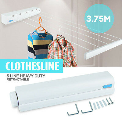 3.8m Retractable 5 Line Clothes Line Heavy Duty Hang-drying Rack Wall Mountable