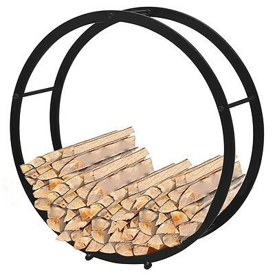 Firewood Log Rack Round Fireplace Stand Holder Storage Support Steel Black Solid