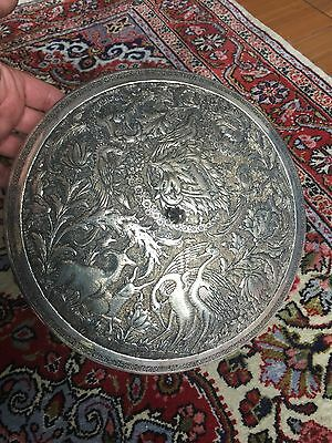 Antique Islamic Persian Ghajare Style Solid Silver Round Box Engraved Stag Bird