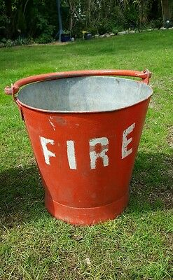 Antique red fire bucket - vintage and original. Metal