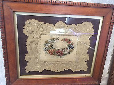 Antique Sampler Victorian circa 1870  Framed Embroidery Fabric