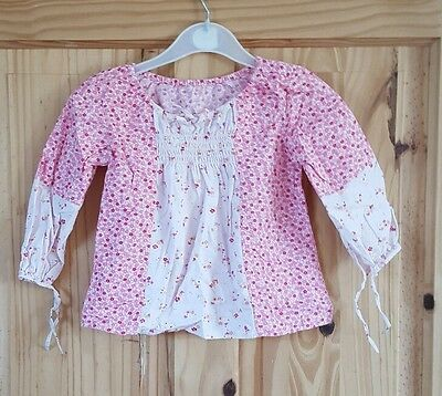 girls pink long sleeved top 12 - 18 months mothercare