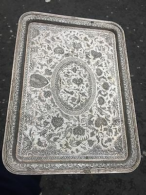 Antique 19th C Islamic Persian Ghajare Solid Silver Tray & Birds & Flowers Rare