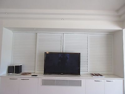 SHUTTER ROOM DIVIDER - 4 SHUTTERS, TOP TRACK, WHITE TIMBER, 3765 W X 1500H , 46b