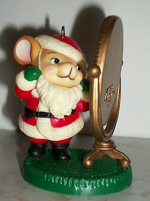 1982 Avon Christmas Ornament Mouse Dressed as Santa Looking in Mirror, No Box