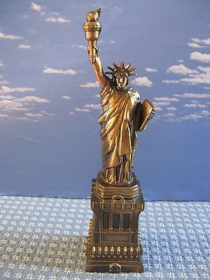"12"" Vintage  Statue of Liberty Metal Replica Souvenir New York Copper Color"