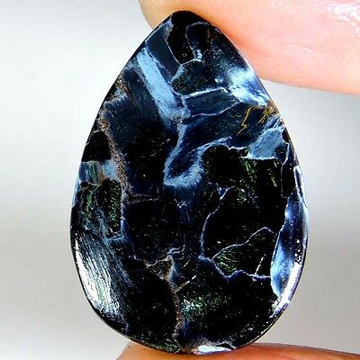 18.45cts 100% NATURAL SUPER EXCELLENT A+ GRAY PIETERSITE PEAR CABOCHON GEMSTONE