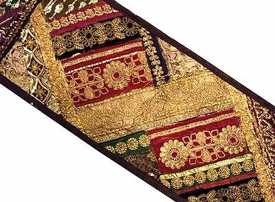 "60"" Exquisite Indian Vintage Beaded Sequin Moti Sari Wall Décor Hanging Tapestry"