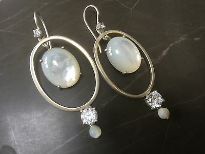 Thomas Sabo - Authentic -Mother of  pearl and silver earrings with stones