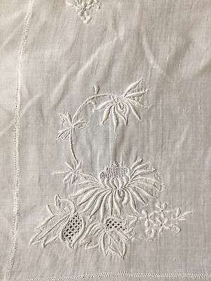 Antique White Sheer Gauze Linen Embroidered Chinese Flowers Tablecloth
