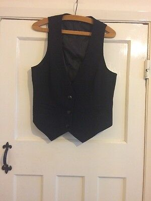 Black Buttoned Ladies Waistcoat Size 16 Smart New Without Tags