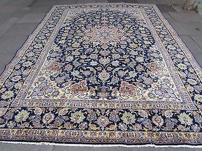 Old Traditional Hand Made Persian Rug Oriental Wool Blue Large Carpet 388x282cm