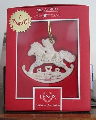 LENOX China Unisex Teddy Bear Rocking Horse 2016 Baby's 1st Christmas Ornament