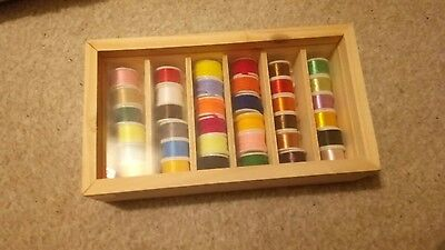 Mixed fly tying threads silks and wools 36 spools 6 compartment box