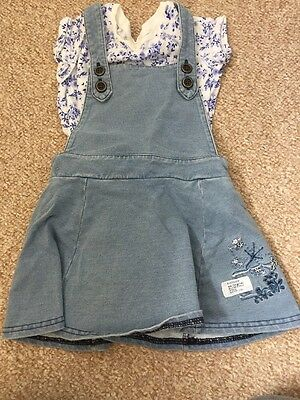 Next Pinafore Dress With Blue Ditsy Top 12-18 Months