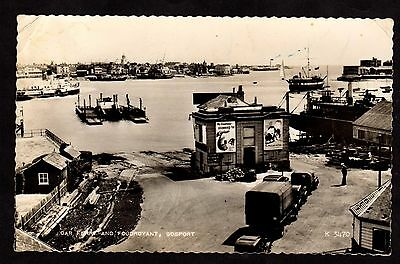 Postcard ~ CAR FERRY & FOUDROYANT in GOSPORT Hampshire ~ 1959 Air Mail