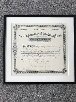 City Of Las Palmas Water And Power Company Ltd Shares Framed