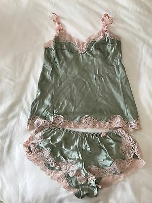 Next Silk Lingerie Camisole & Shorts Set Green & Pink Lace Detail Sz 10