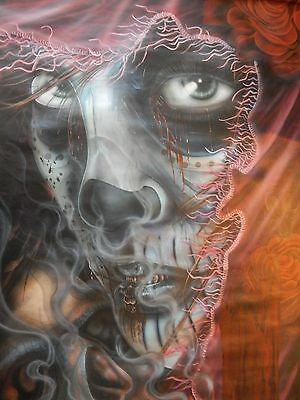Spooky Skull Tattoo Haunted House sideshow canvas art Halloween Lady Death Prop