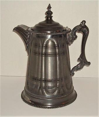 Unusual Pattern SILVER PLATE Ice Water PITCHER Aesthetic Movement LYMANS 1858