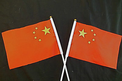 30 CHINA COUNTRY NATION 20 x 14 cm FABRIC HAND FLAG CHINESE BIRTHDAY PARTY STICK