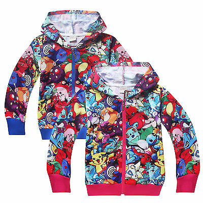 Kids Boys Pokemon Pikachu Long Sleeve Hoodie Jacket Coat Sweatshirt Jumper Tops