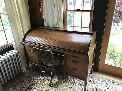 Antique Oak Slatted Roll Top Desk And Chair