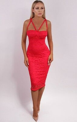 New Womens Ladies Sleeveless Red Lace Bustier Strappy Midi Dress