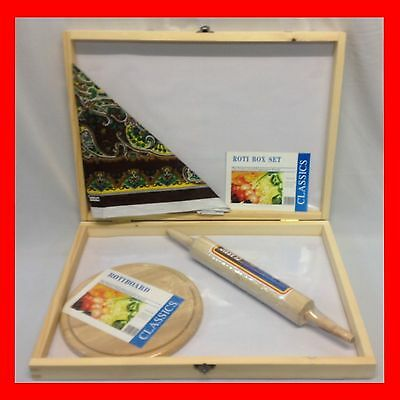 New 4Pc Asian Roti Box,chappatti Box ,rolling Pin ,board, Dajie