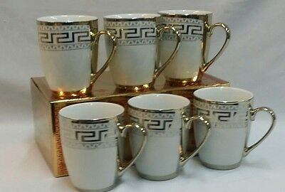 New 6 X Gold Designer Design Porcelain China Tea / Coffee Mug