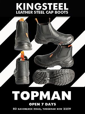 WORK BOOTS LEATHER STEEL CAP WORK BOOTS POPULAR slip on   SAFETY