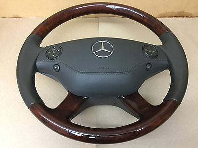 2012 Mercedes Benz S Class  W221 Wooden & Leather Steering Wheel With Airbag