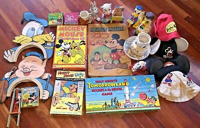 Vintage 1930s-60s Disney Mickey Mouse Donald Duck Misc. Collectibles Box