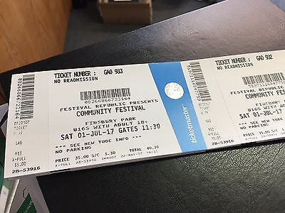 Community Festival Tickets X2 @ Finsbury Park July 1st