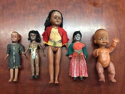 Vintage Antique Black Americana Doll Lot  Plastic