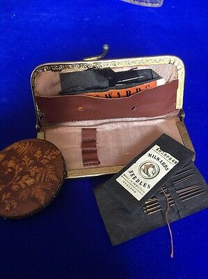VINTAGE COLLECTABLE WOODEN PIN CUSHION With Pins And Vintage Needles Case