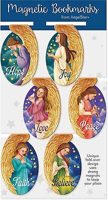 AngelStar Pack of 6 Oval Angel Magnetic Bookmarks