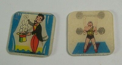 Vintage Hologram Flicker Magician and Weight Lifter Cracker Jack Premiums