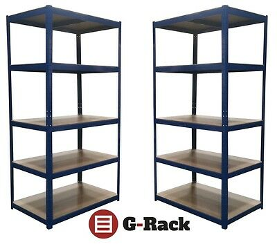 2 Bay Steel 180 x 90 x 60 5 Tier Extra Deep Garage Shed Storage Shelving Units