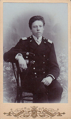 Original CDV Photo Pre-WWI YOUNG NAVY OFFICER RUSSIAN EASTERN EUROPEAN 1890's