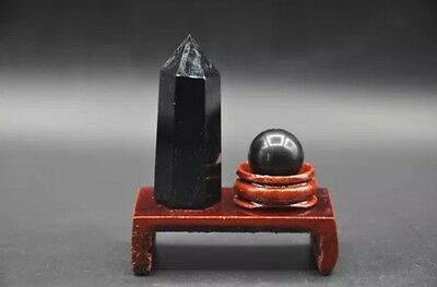 2pcs Black Obsidian crystal Point Wand Generator sphere ball + Wooden Stand