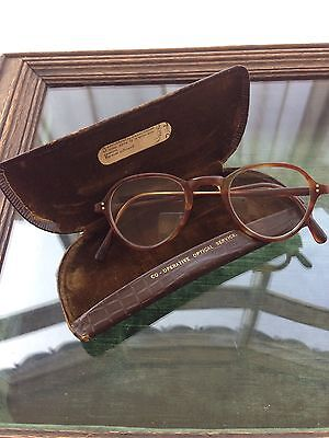 Vintage 1930's 1940's Round Tortoiseshell Glasses Spectacles In Original Case