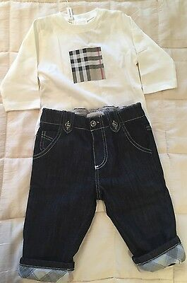 Burberry Baby Trousers Jeans Top Tshirt Size 3-6 Months New