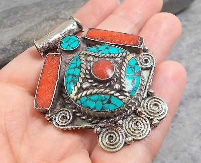 LARGE Nepal Tibet Silver TURQUOISE RED CORAL Pendant P535~Silverwave*uk Jewelry