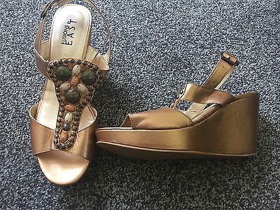 Fusions East Gold/bronze Wedges Shoes Sandals Heels Size Uk 7Worn Once