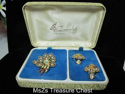 Vintage Camelot Aurora Borealis Pin & Clip-On Earring Set  ** In Original Box **