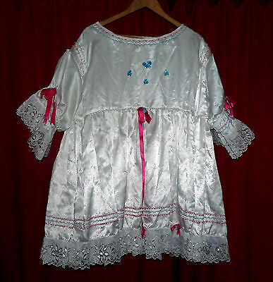 """white satin button back AB short dress 54"""" chest lace pink green stitching sissy"""