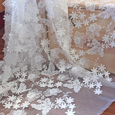 1 Yard Lace Tulle Fabric 3D Flower Embroidered Wedding Dress Sewing Crafts 51''
